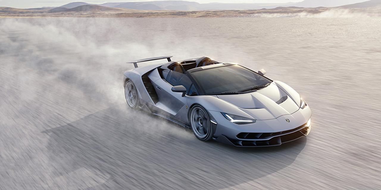 Картинки Lamborghini 2016 Centenario Roadster Родстер Роскошные Серебристый скорость Машины Ламборгини дорогие дорогой дорогая люксовые роскошная роскошный серебряный серебряная серебристая едущий Движение Авто Автомобили