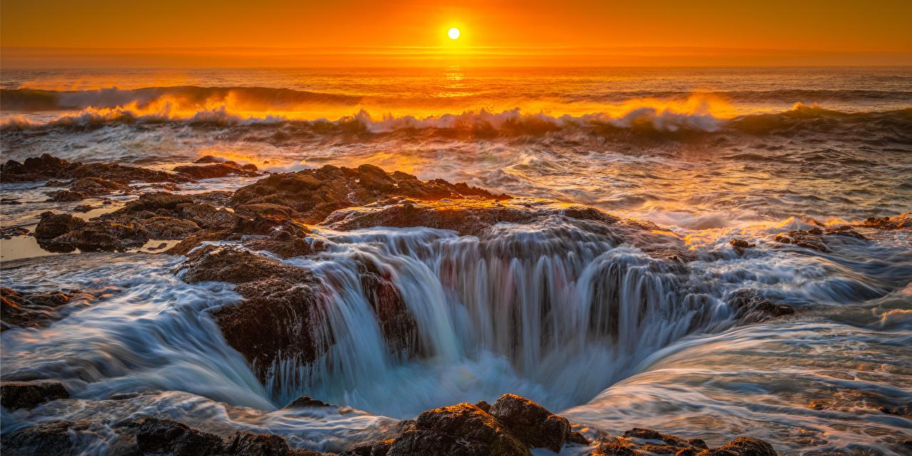 Картинка штаты Cape Perpetua, Oregon Океан Природа рассвет и закат берег США америка Рассветы и закаты Побережье