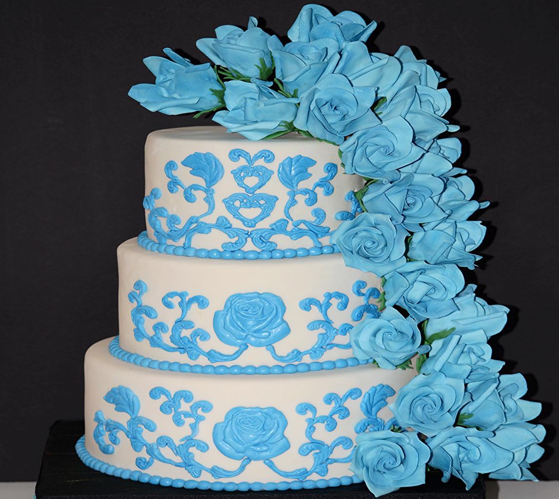 Картинка роза Торты Пища сладкая еда Цветной фон Розы Еда Продукты питания Сладости