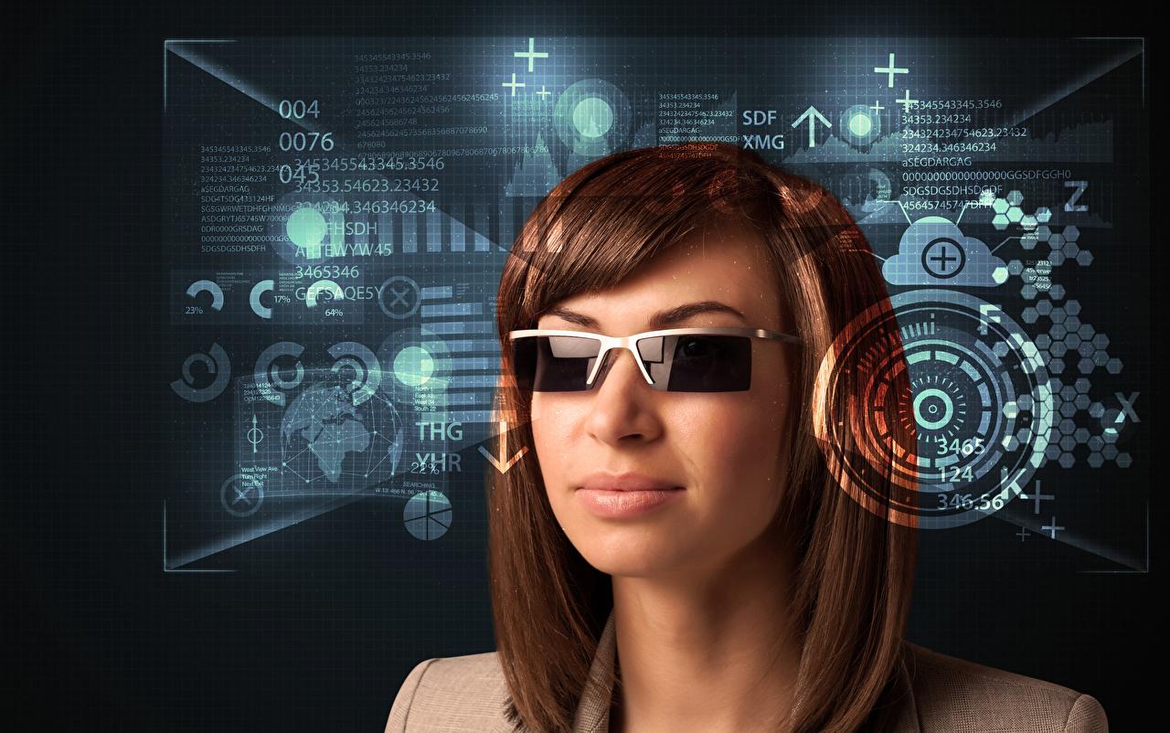 Фотография Шатенка волос Девушки Очки шатенки Волосы девушка молодая женщина молодые женщины очков очках