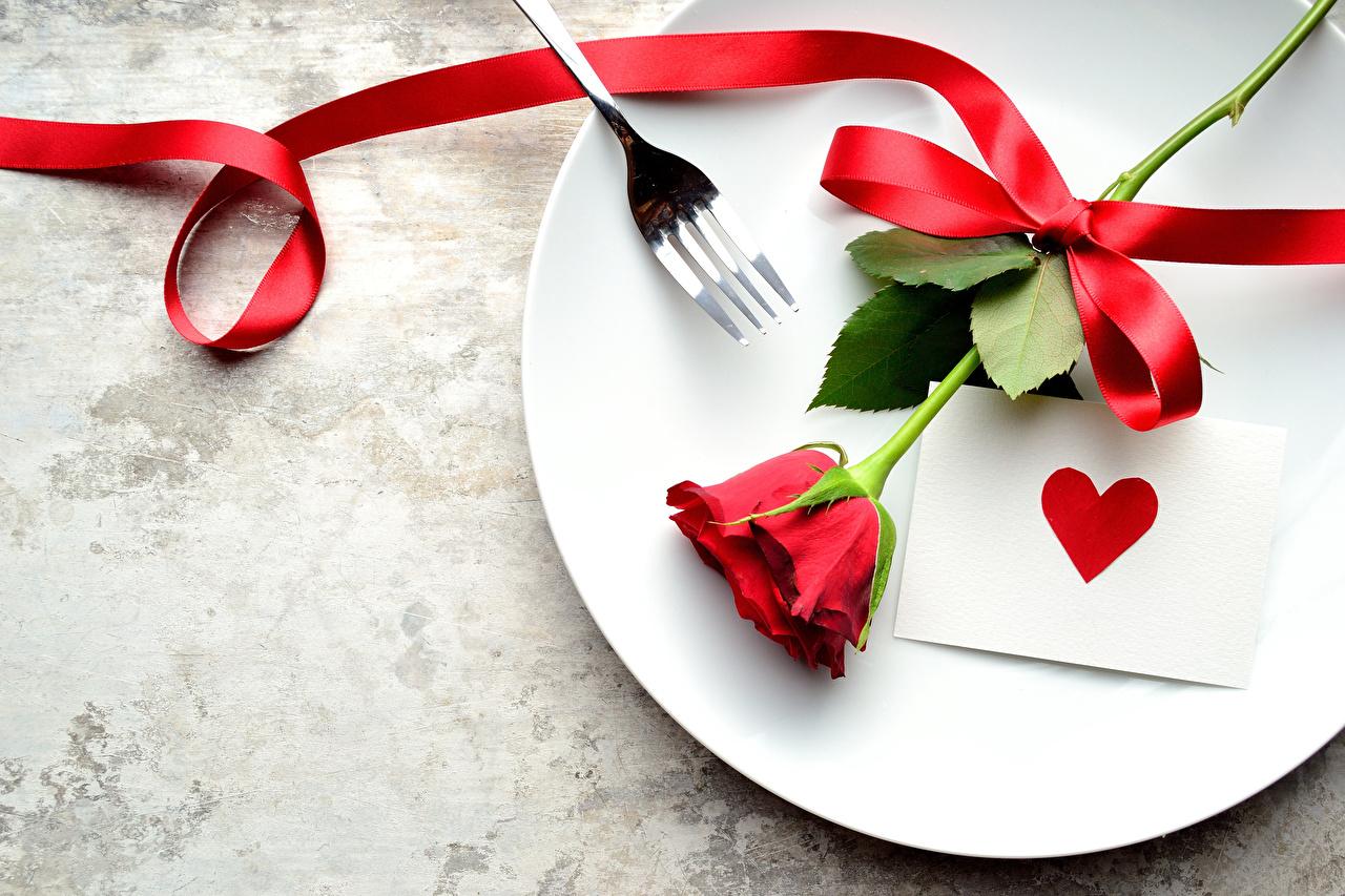 Обои для рабочего стола Сердце Розы красных цветок Тарелка ленточка Праздники серце сердца сердечко роза Красный красная красные Цветы Лента тарелке