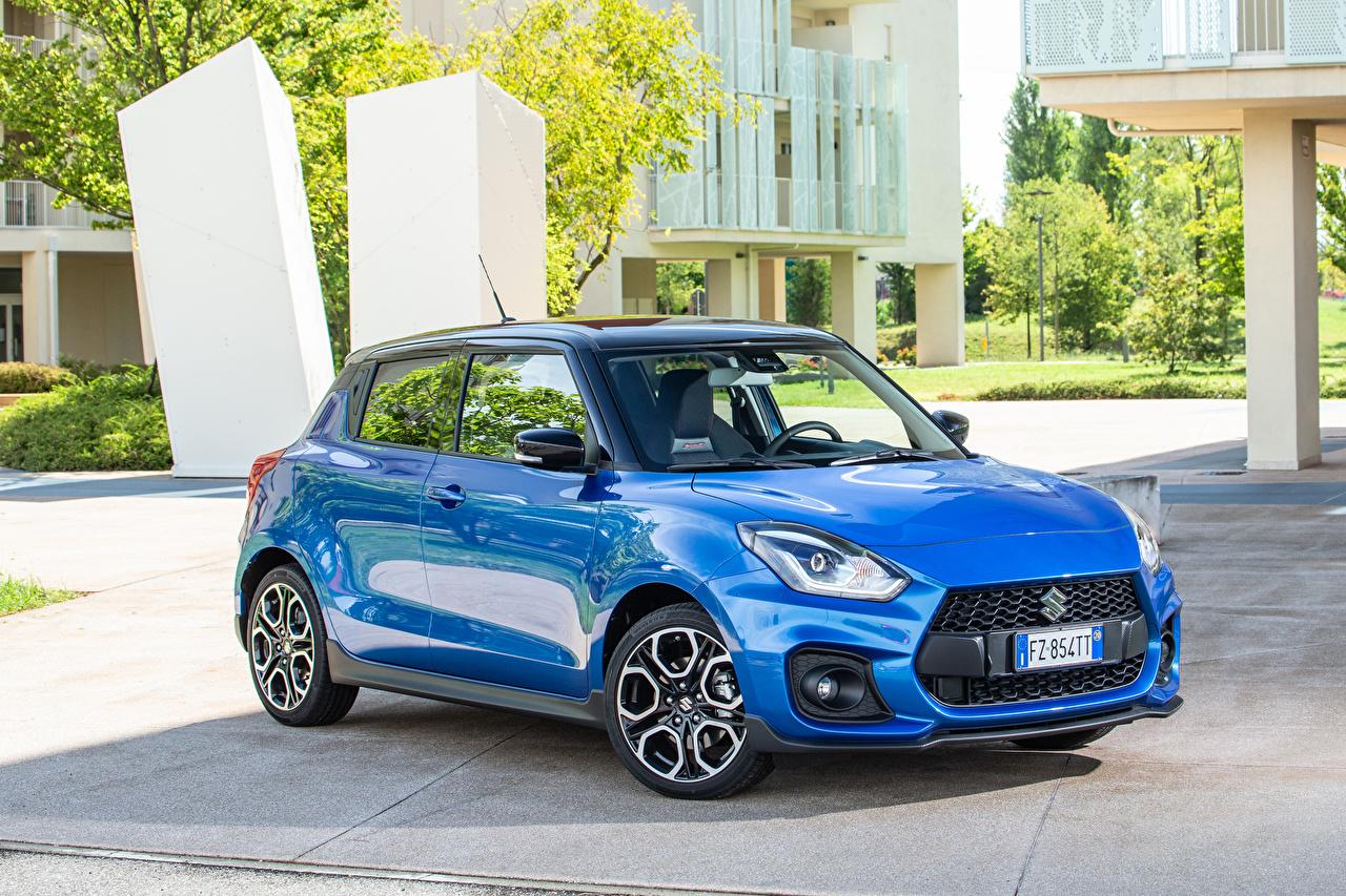 Картинки Suzuki - Автомобили Swift Sport Hybrid, 2020 голубые авто Металлик Сузуки голубых Голубой голубая машина машины автомобиль Автомобили