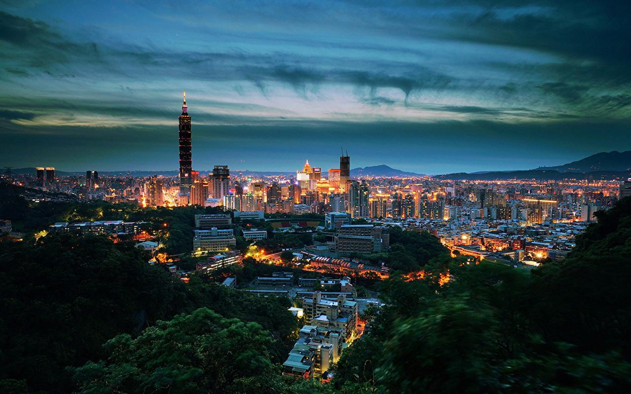 Обои Тайбэй Тайвань ночью Дома Города Ночь в ночи Ночные Здания