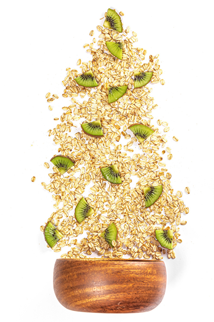 Картинки овсяная Киви Зерна Еда белым фоном  для мобильного телефона Овсянка зерно Пища Продукты питания Белый фон белом фоне