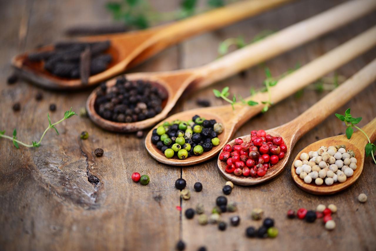 Фотографии Перец чёрный Ложка Специи Продукты питания Еда Пища пряности приправы