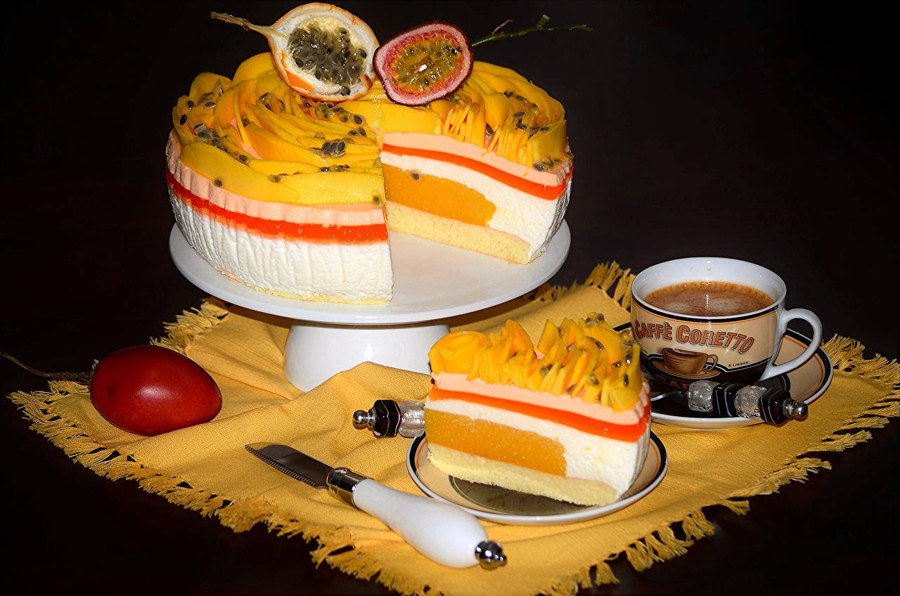 Картинка Кофе Торты Пища Чашка Фрукты сладкая еда Еда чашке Продукты питания Сладости