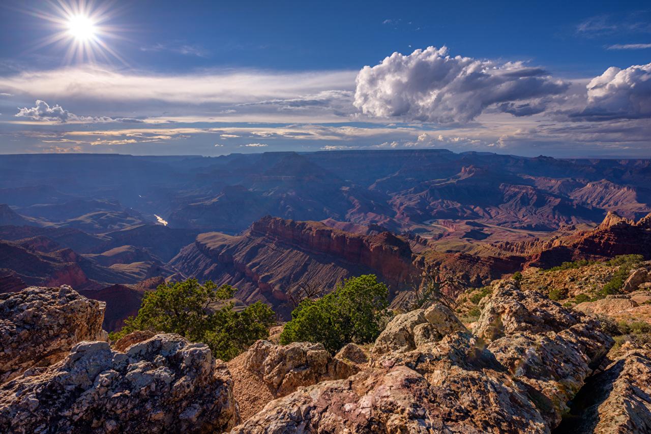 Фото Гранд-Каньон парк США Arizona солнца Каньон Природа Небо облачно штаты америка Солнце каньона каньоны Облака облако