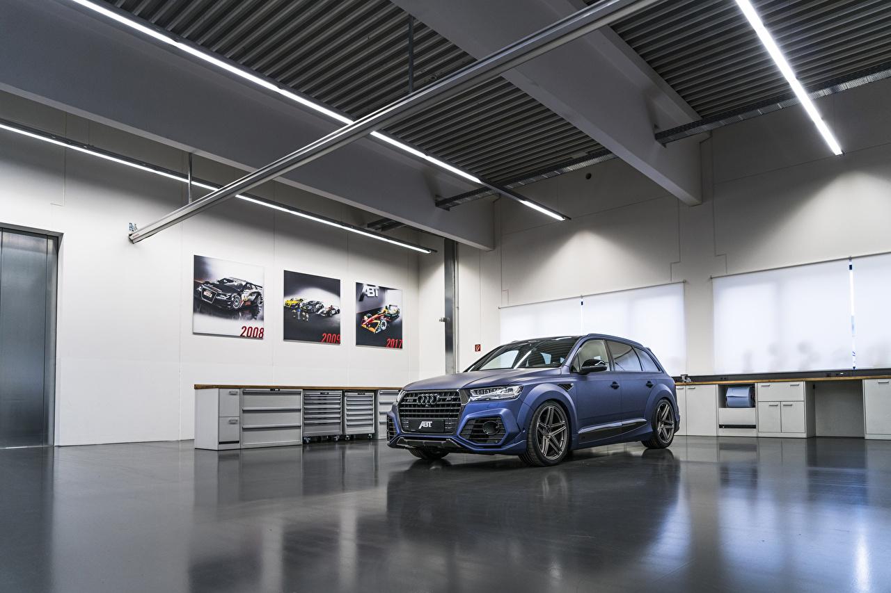 Картинки Audi 2017-18 SQ7 ABT Vossen синяя Автомобили Ауди Синий синие синих авто машины машина автомобиль