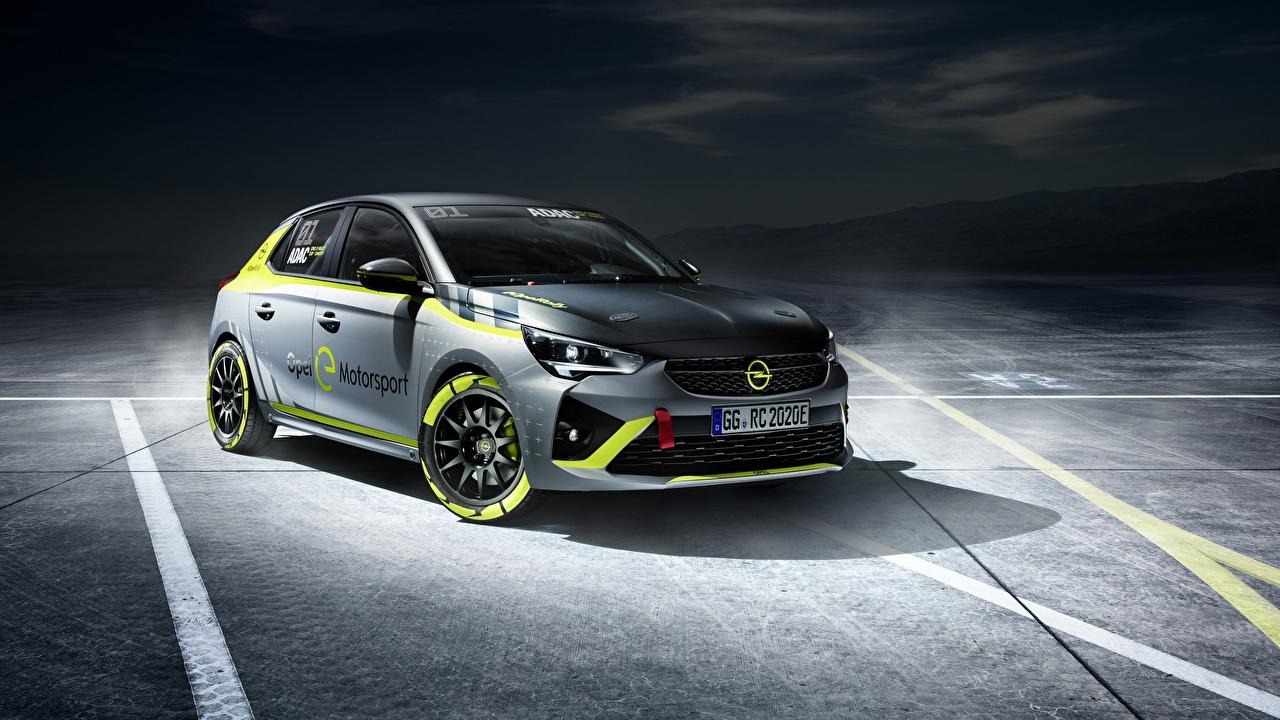 Обои для рабочего стола Opel Corsa-e Rally серая Автомобили Опель Серый серые авто машины машина автомобиль