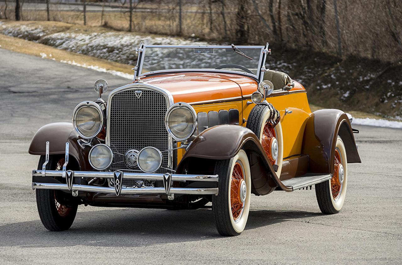 Фотография 1931 Hudson Greater Eight Sport Roadster Родстер Кабриолет Ретро Желтый Металлик Автомобили Винтаж старинные Авто Машины