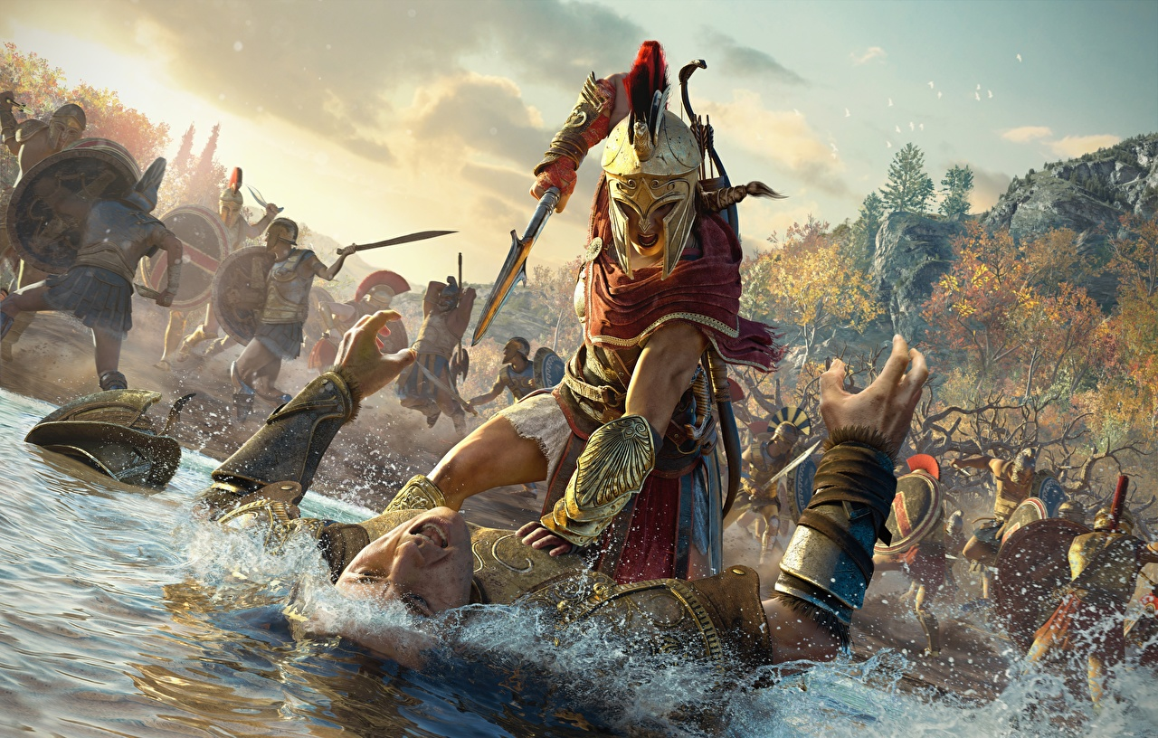 Фотографии Assassin's Creed Odyssey воин в шлеме Мужчины дерутся компьютерная игра Шлем воины шлема Воители Драка дерется сражение Игры