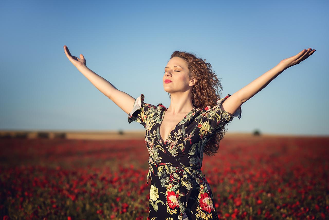 Фотографии боке Поза Девушки мак Поля Руки Платье Размытый фон позирует девушка молодые женщины молодая женщина Маки рука платья