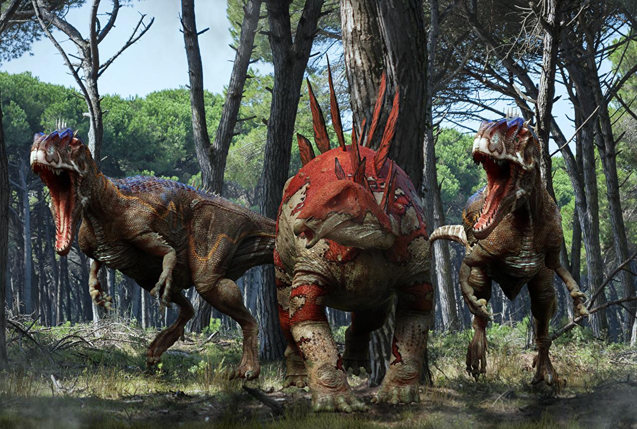 Фотография Динозавры Stegosaurus 3D Графика рычит животное Древние животные динозавр 3д злой Оскал злость Животные