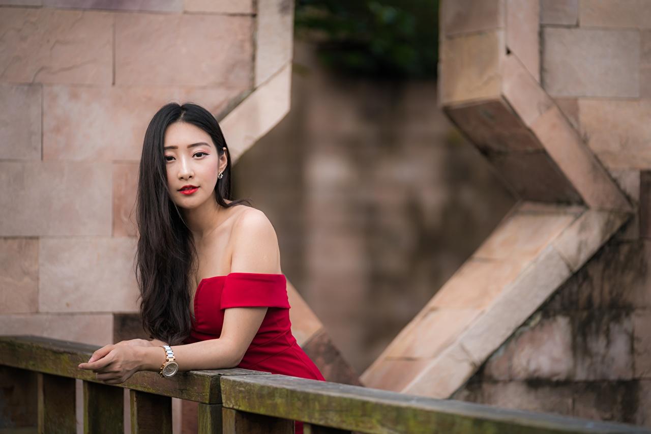 Фотографии Брюнетка позирует Волосы девушка азиатки смотрит брюнеток брюнетки Поза волос Девушки молодые женщины молодая женщина Азиаты азиатка Взгляд смотрят