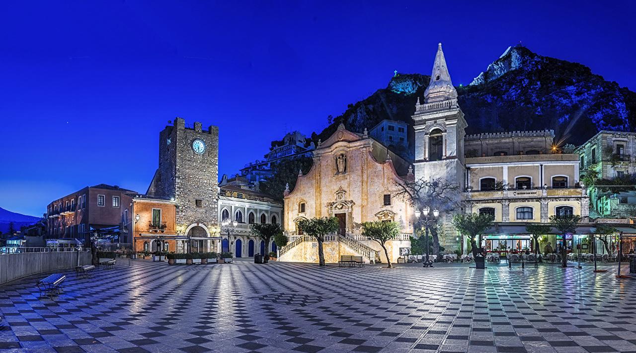Дома, Италия, Сицилия Taormina Улица, Ночь, Здания, Ночные Города