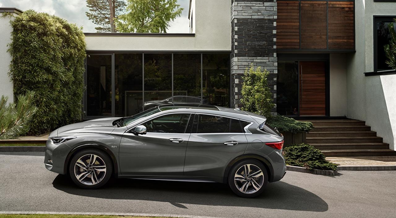 Картинки Инфинити Hatchback, Premium-class, Q30 1.5d, 2015 серые Сбоку Автомобили Infiniti серая Серый авто машины машина автомобиль