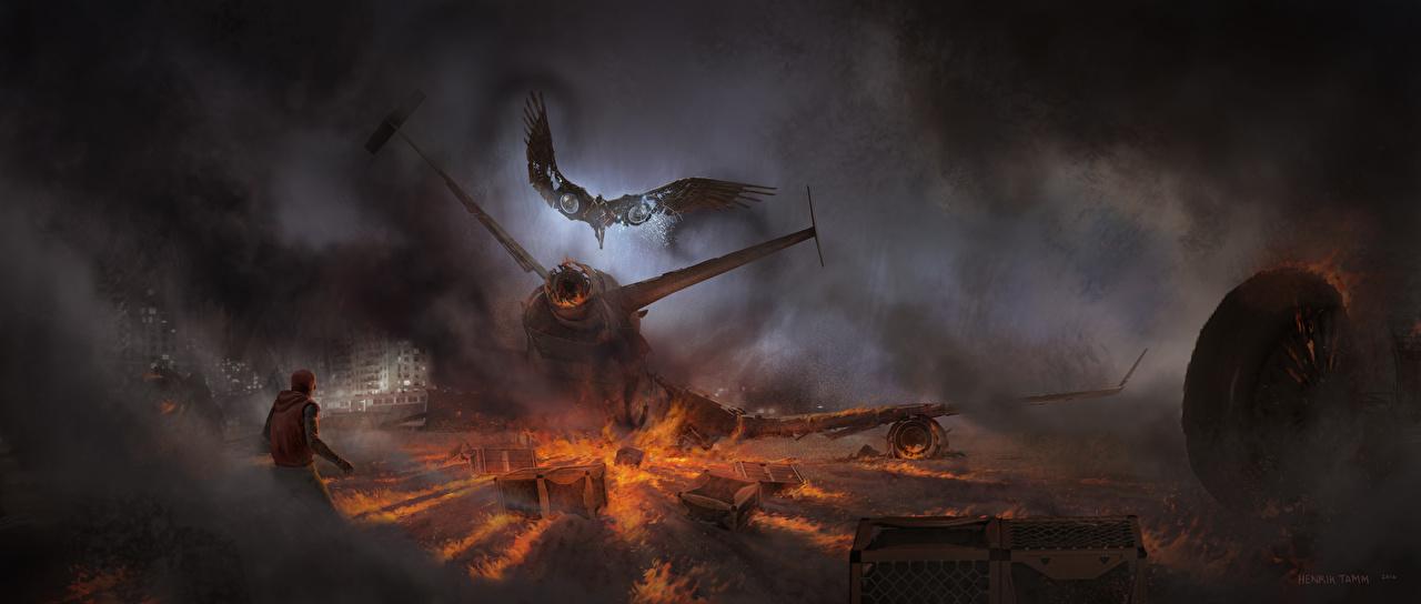 Картинки Человек-паук: Возвращение домой Человек паук герой Vulture Кино Огонь Катастрофы Дым Пламя Фильмы