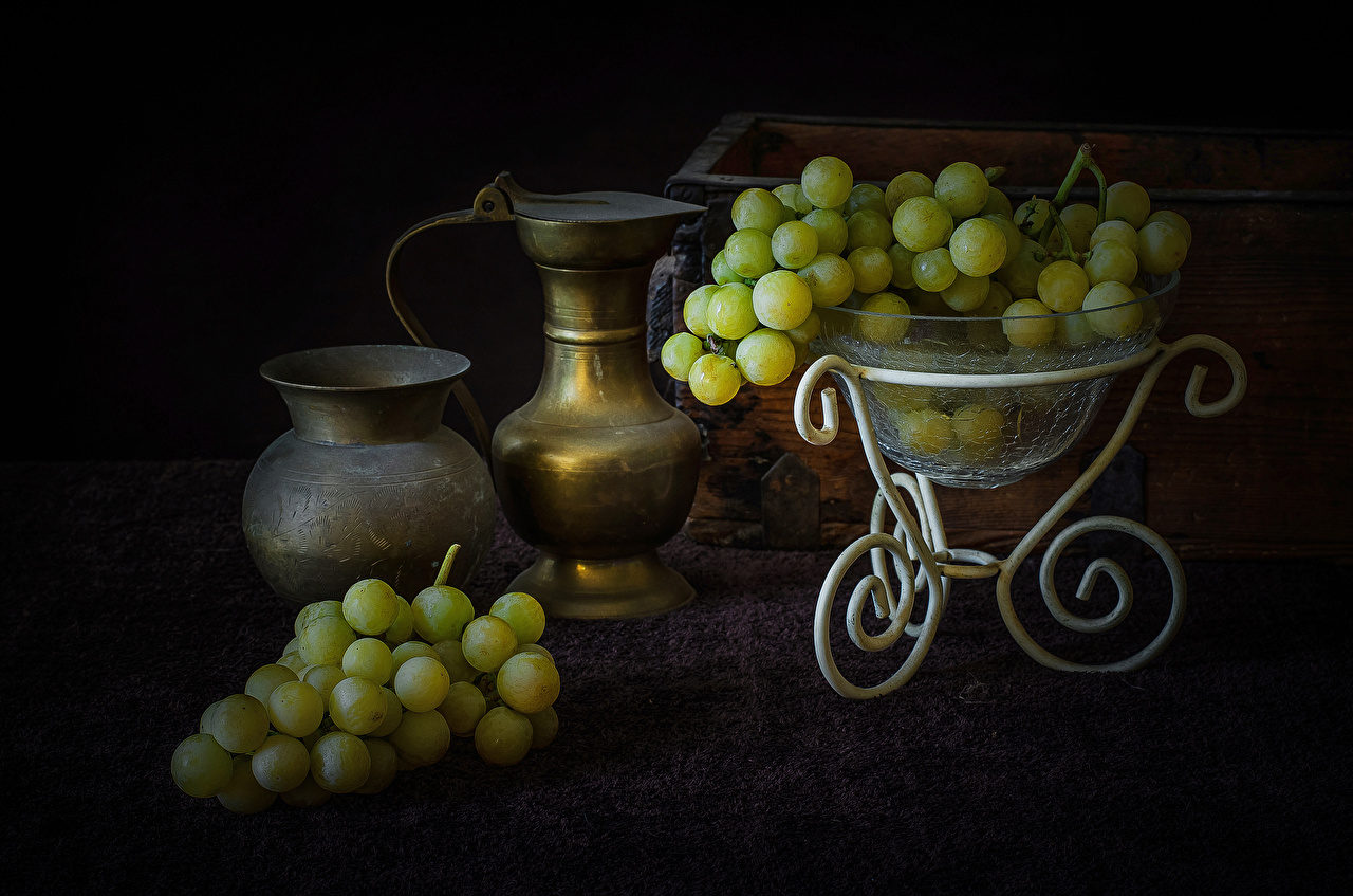 Картинки кувшины Виноград Продукты питания Кувшин Еда Пища
