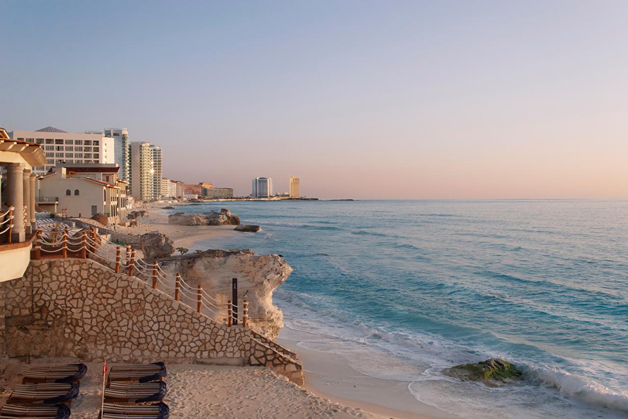 Фотография Мексика Cancun Залив Побережье город Здания берег заливы залива Дома Города