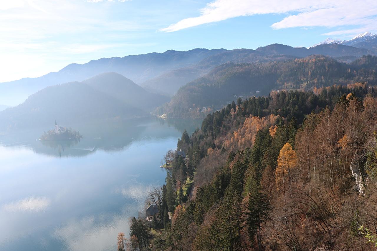 Обои Словения Bled Туман Горы Осень Природа Леса Озеро тумана тумане осенние