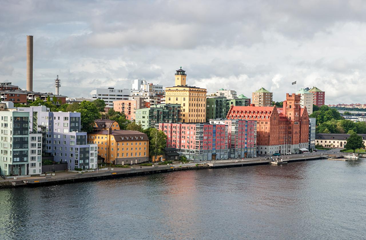 Картинка Стокгольм Швеция Водный канал Причалы Здания Города Пирсы Пристань Дома город