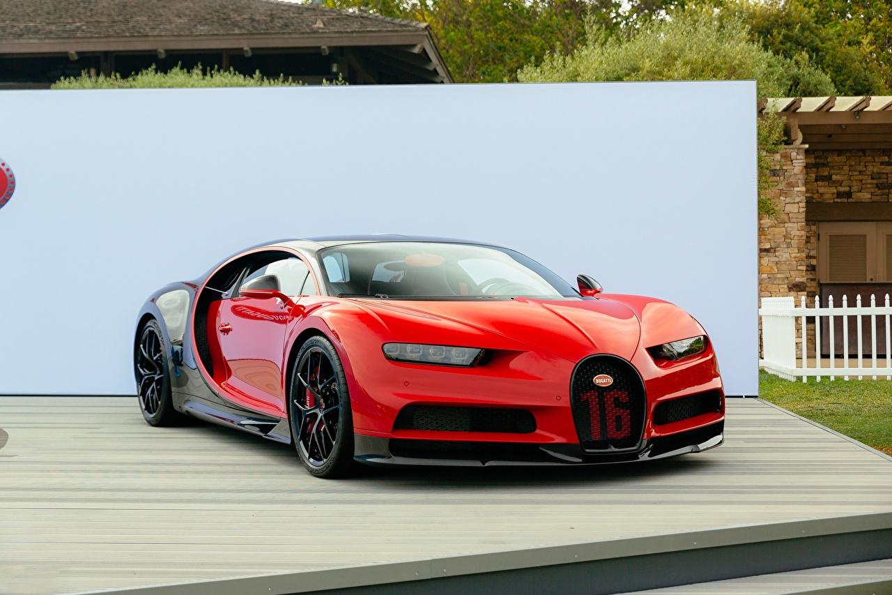 Картинка BUGATTI chiron красные машина Металлик красных Красный красная авто машины автомобиль Автомобили
