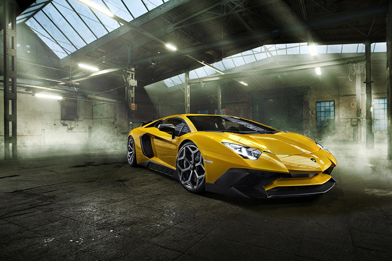 Фотографии Ламборгини 2016 Novitec Torado Aventador LP 750-4 Superveloce желтые машина Металлик Lamborghini желтых Желтый желтая авто машины автомобиль Автомобили