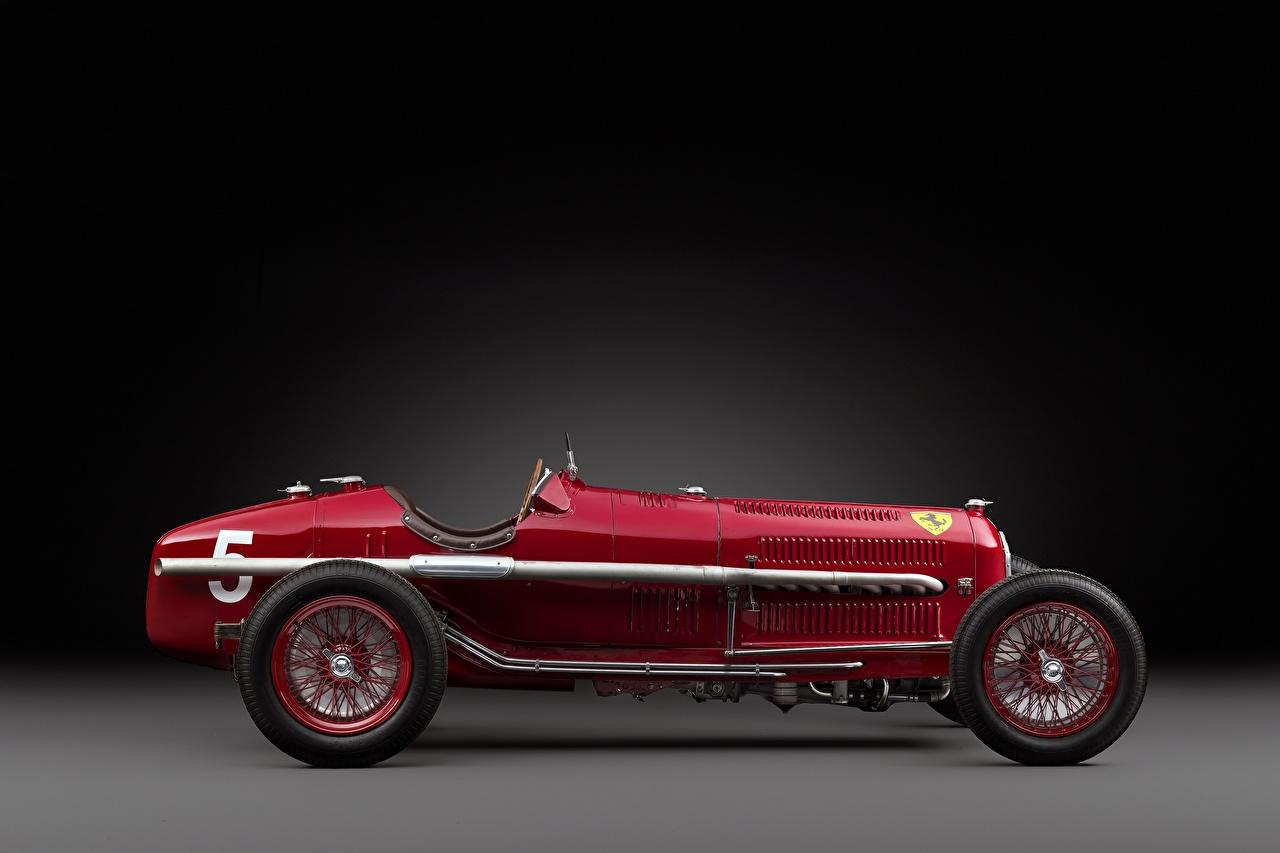 Фото Альфа ромео 1932 Tipo B P3 Винтаж Красный Сбоку автомобиль Alfa Romeo Ретро красных красные красная старинные авто машина машины Автомобили