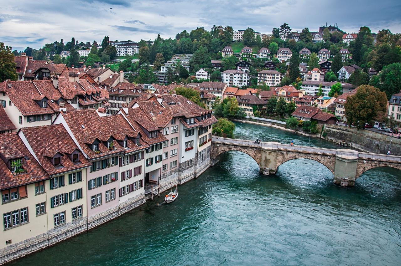 Фотографии Берн Швейцария river Aare Мосты речка Города Здания мост река Реки Дома город