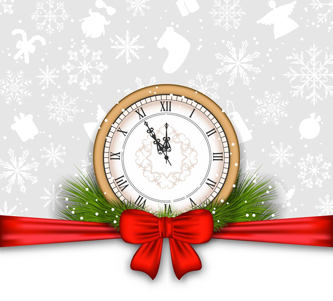Фотография Рождество Часы Снежинки бант Векторная графика Новый год снежинка Бантик бантики
