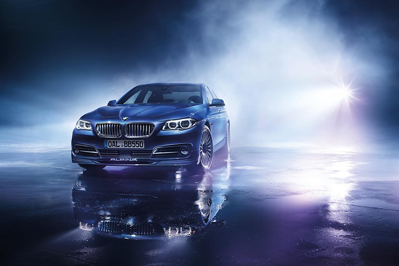 Обои для рабочего стола Лучи света БМВ Alpina, B6, Bi-Turbo, Coupe, Edition 50, F13 Синий Спереди автомобиль BMW синяя синие синих авто машины машина Автомобили