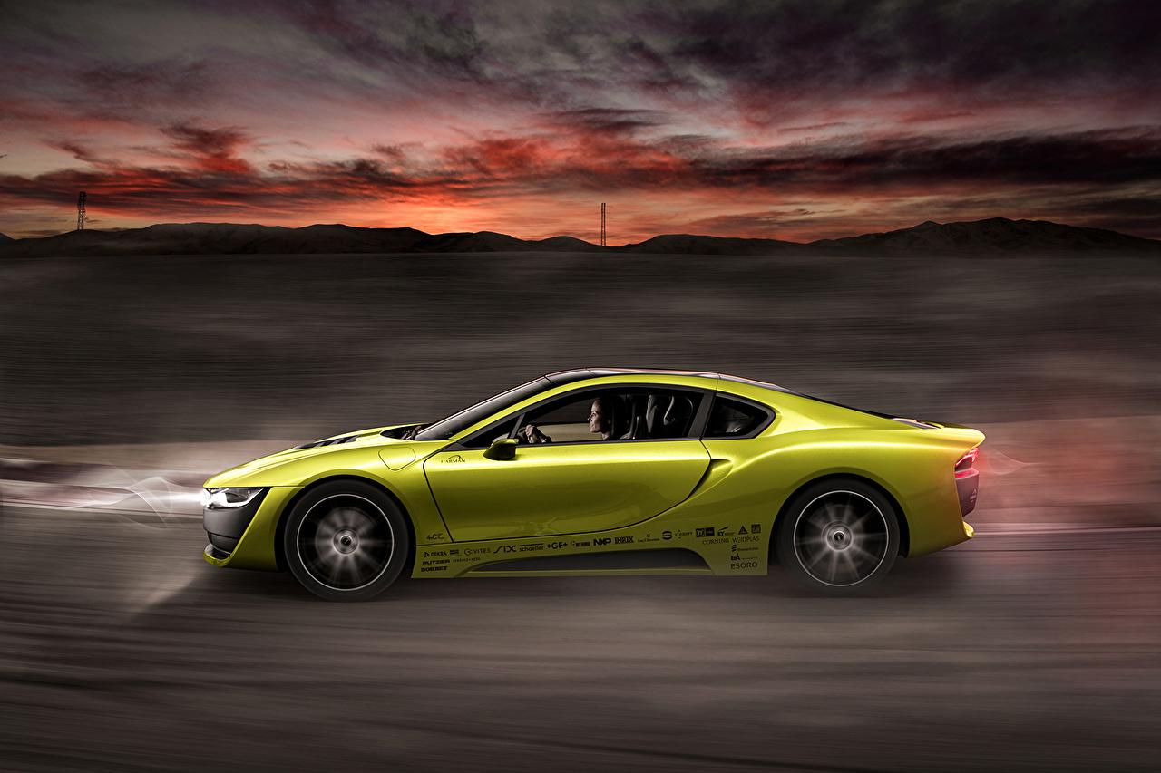 Фотография БМВ Тюнинг 2015 Rinspeed Etos concept (BMW i8) желтая авто Сбоку BMW Стайлинг желтых желтые Желтый машина машины автомобиль Автомобили