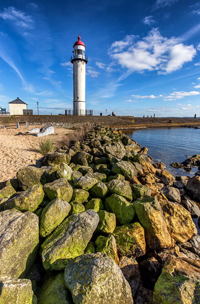 Картинка голландия Hellevoetsluis Маяки Камень город  для мобильного телефона Нидерланды маяк Камни Города