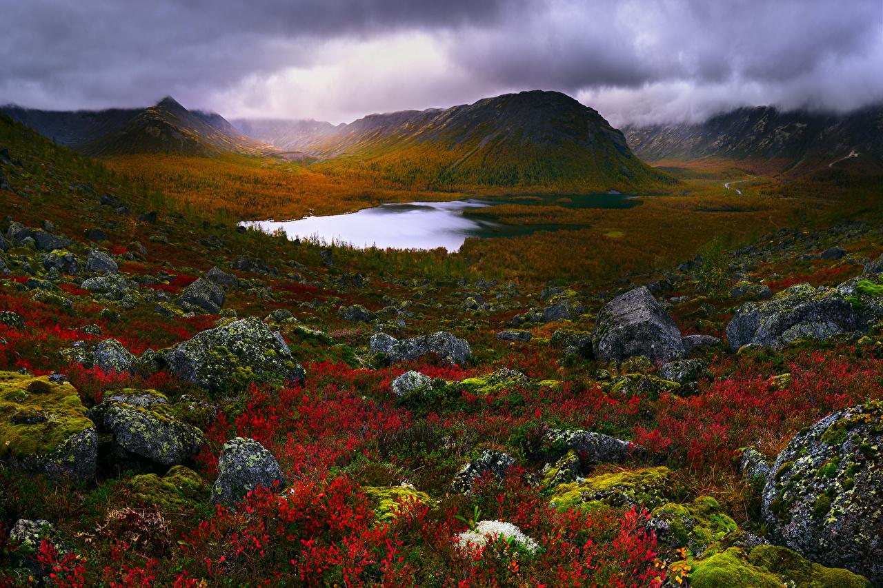 Обои Крым Россия Природа Озеро Холмы Пейзаж Мох Камни Камень