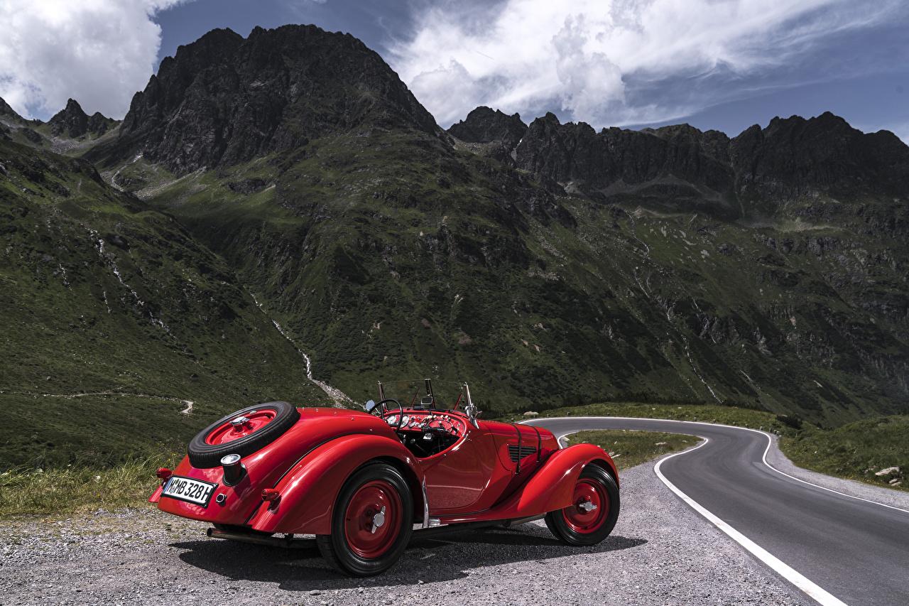 Фотографии БМВ 1936-40 328 Roadster Родстер Ретро красных машины Металлик BMW винтаж Красный красные красная старинные авто машина автомобиль Автомобили
