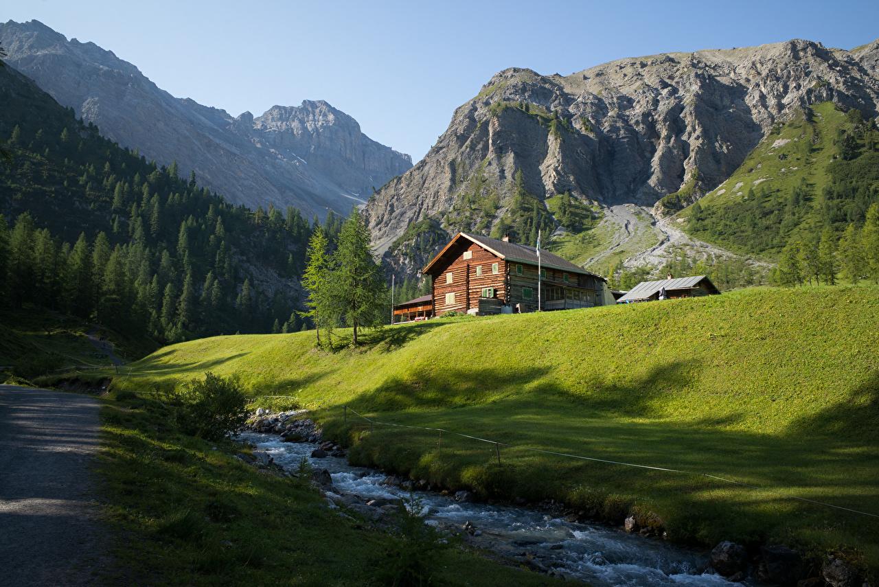 Фото альп Швейцария Graubünden гора Ручей Природа Здания Альпы Горы ручеек Дома