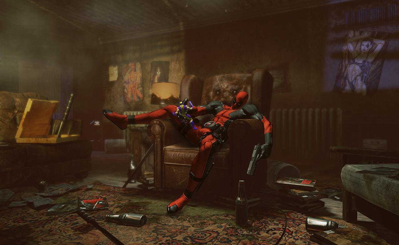 Картинка Герои комиксов Deadpool герой Фэнтези 3D Графика Комната Кресло супергерои Дэдпул 3д Фантастика комнаты