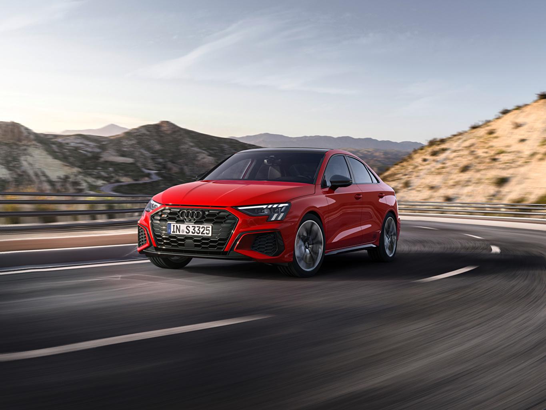 Фотографии Ауди S3 Sedan, 2020 Красный Дороги скорость авто Металлик Audi красная красные красных едет едущий едущая Движение машина машины Автомобили автомобиль