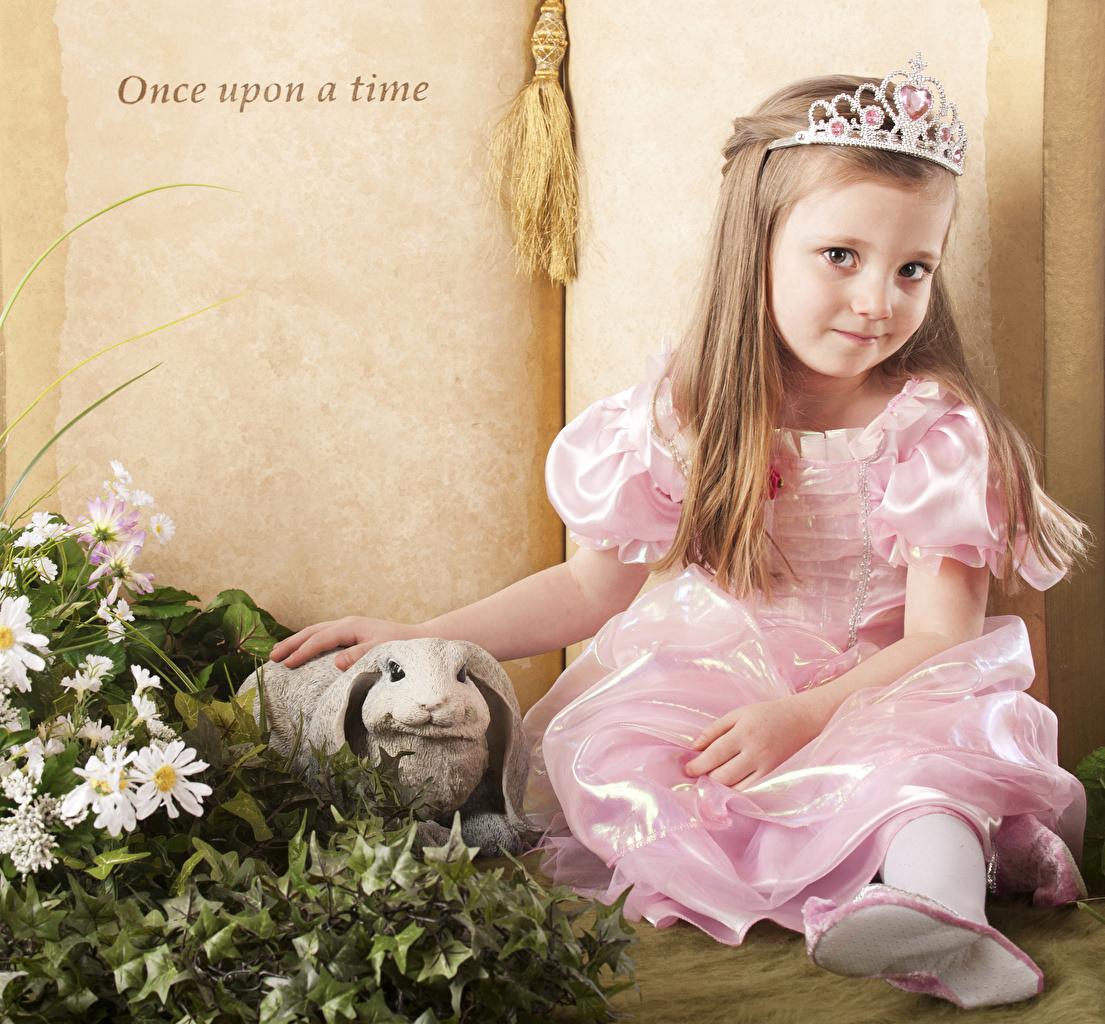 Обои для рабочего стола девочка Кролики Корона ребёнок платья Девочки кролик Дети Платье