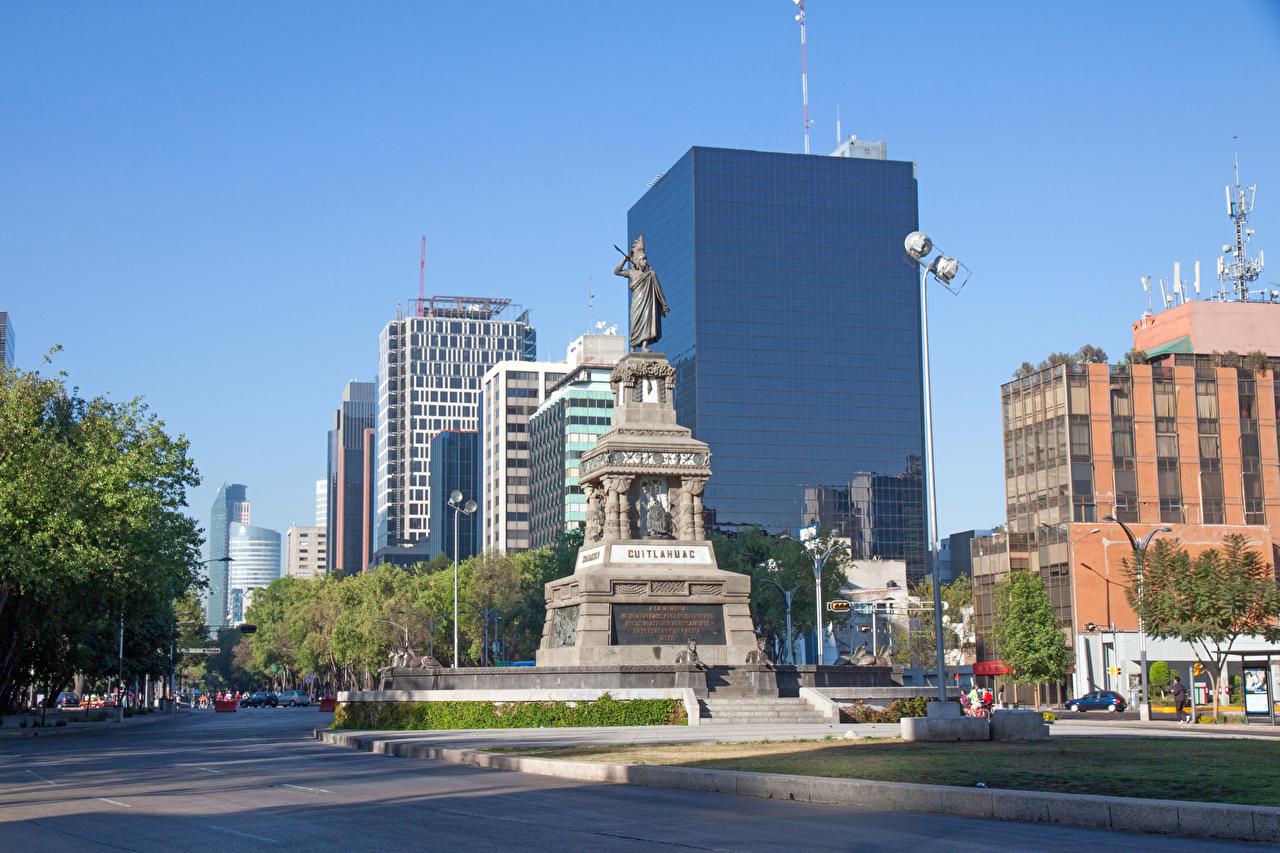 Обои для рабочего стола Мексика Памятники Mexico улиц Города Здания Улица улице Дома город