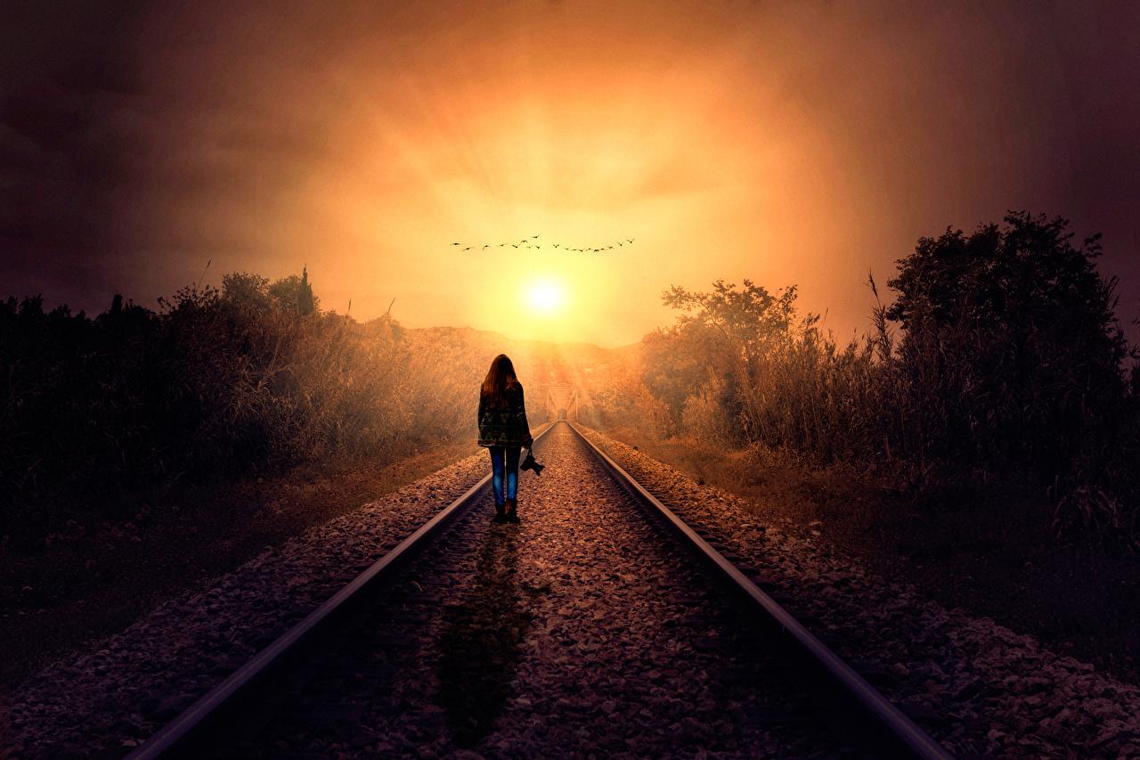 Фотографии Силуэт рассвет и закат Железные дороги силуэты силуэта Рассветы и закаты