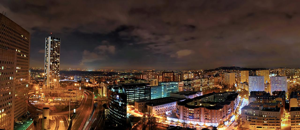 Картинка Париж Франция Мегаполис Дороги Ночь Города Здания Ночные Дома
