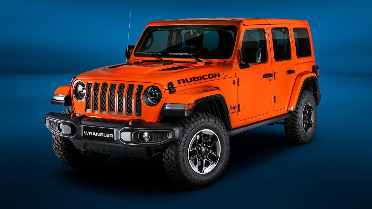 Картинки Джип 2018 Wrangler Jeep Unlimited Rubicon Оранжевый авто оранжевых оранжевые оранжевая машина машины автомобиль Автомобили