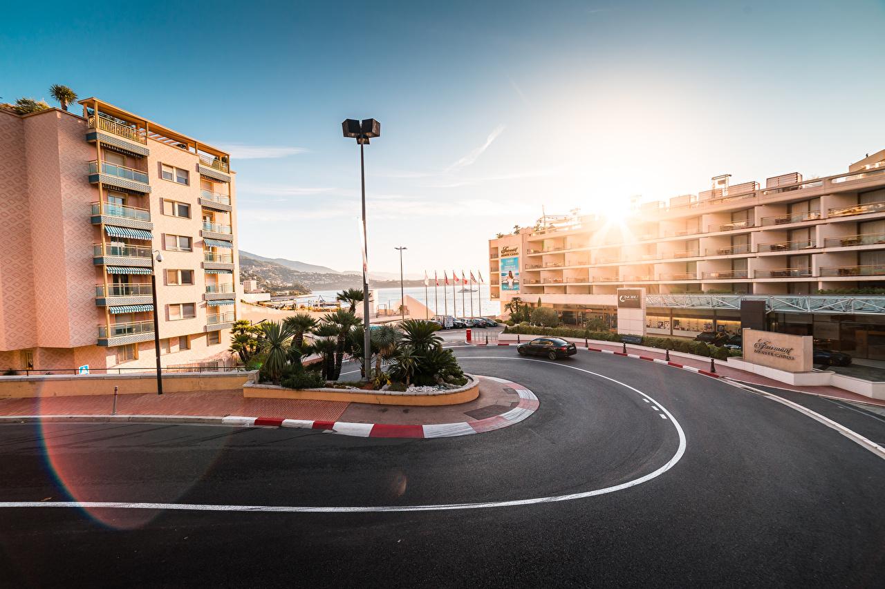 Обои для рабочего стола Монте-Карло Монако Дороги Асфальт Здания Города асфальта Дома город