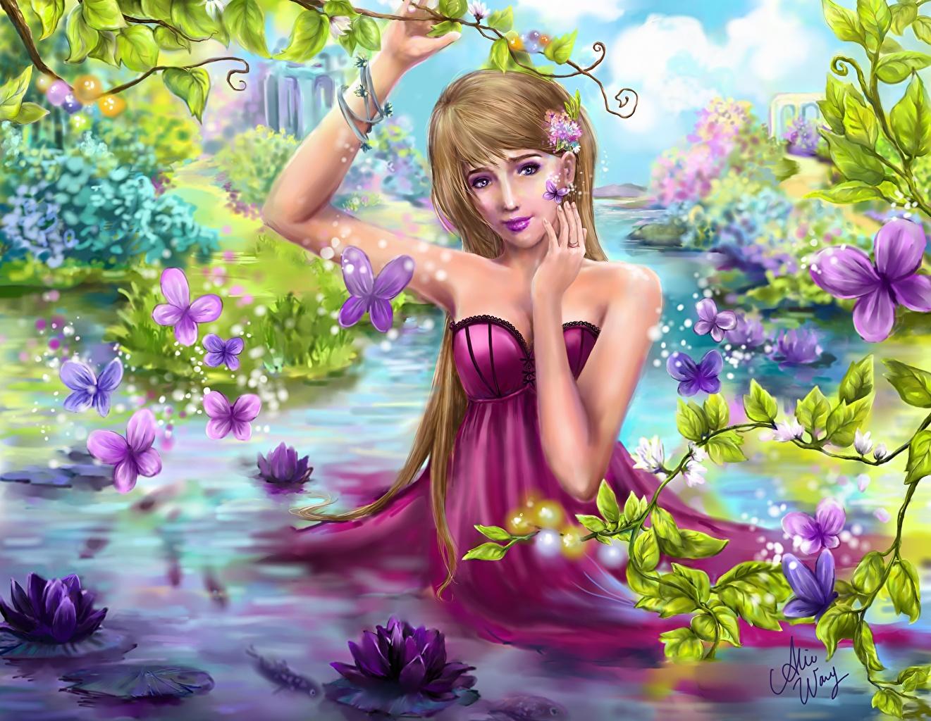 Фото Бабочки Фэнтези молодые женщины Пруд Водяные лилии Платье бабочка девушка Девушки Фантастика молодая женщина Кувшинки платья