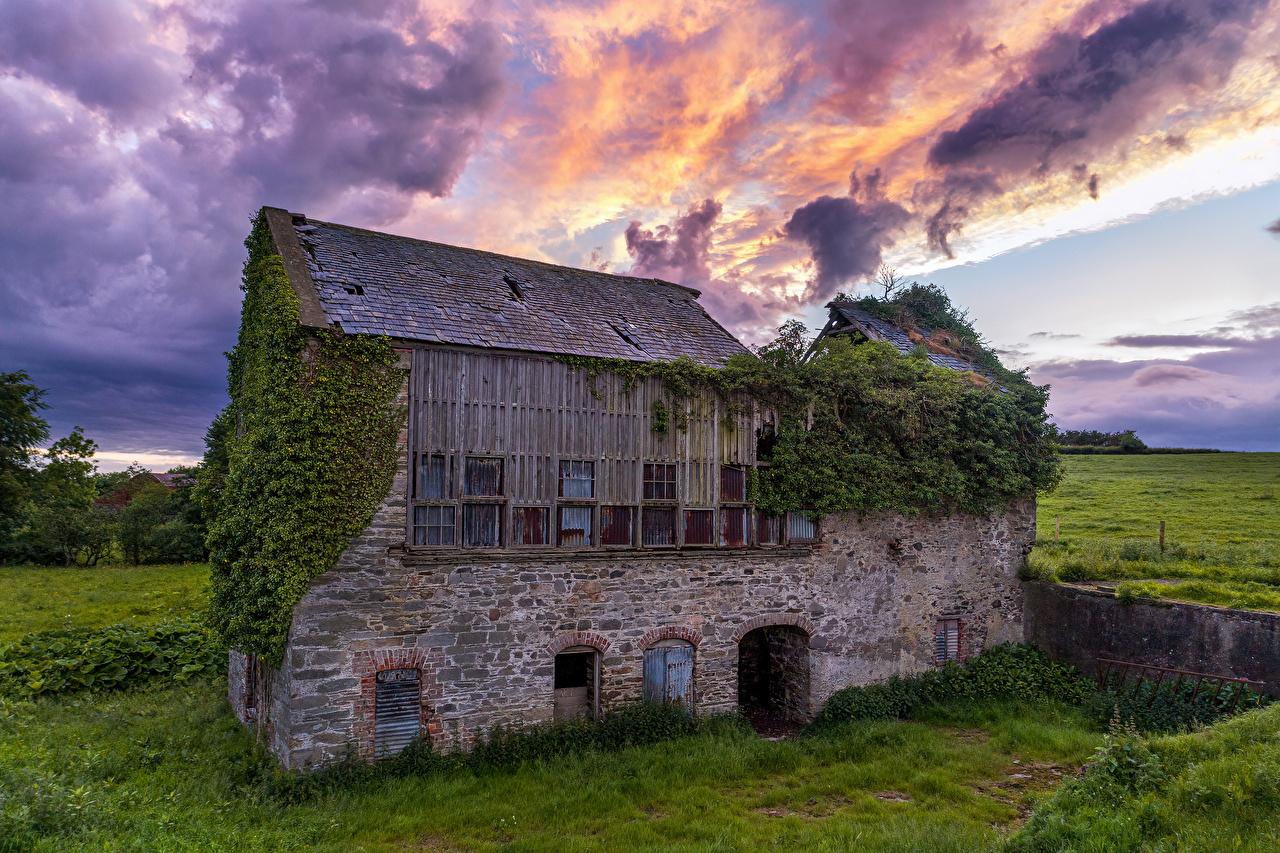 Фотография Ирландия Ballymagorry Природа Развалины Трава старые Каменные Облака Руины траве старая Старый из камня облако облачно
