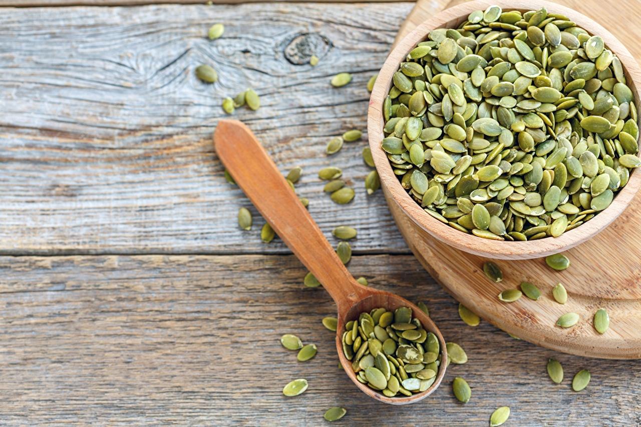 Обои для рабочего стола Pumpkin seed Миска Еда ложки из дерева Пища Ложка Деревянный Продукты питания