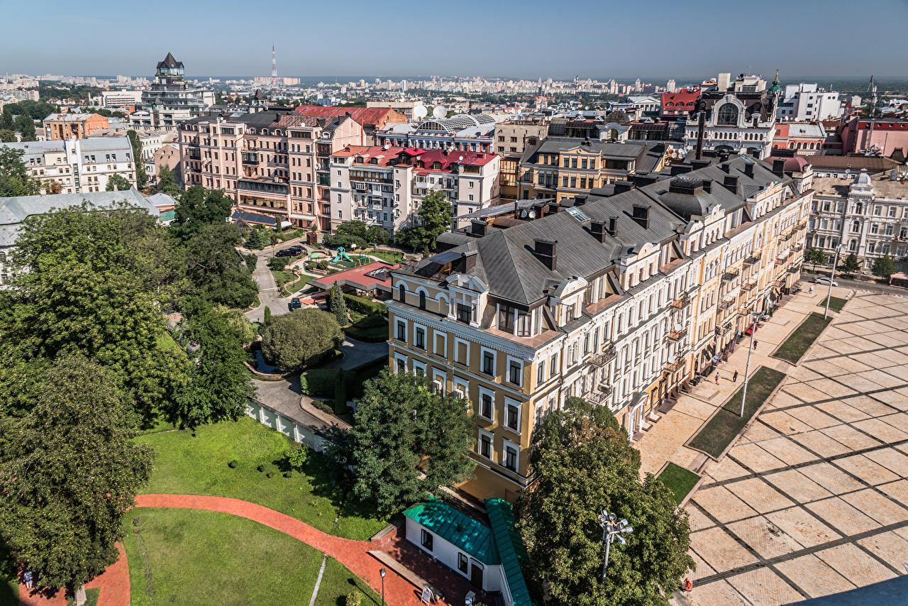 Фото Киев Украина Сверху Здания Города Дома город