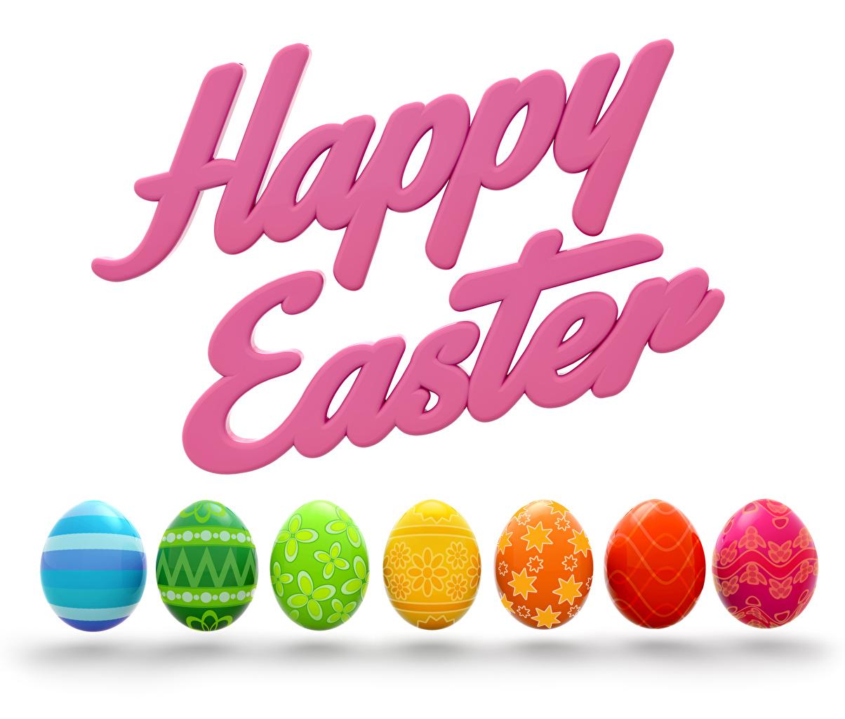 Картинка Пасха Английский Разноцветные Яйца Белый фон
