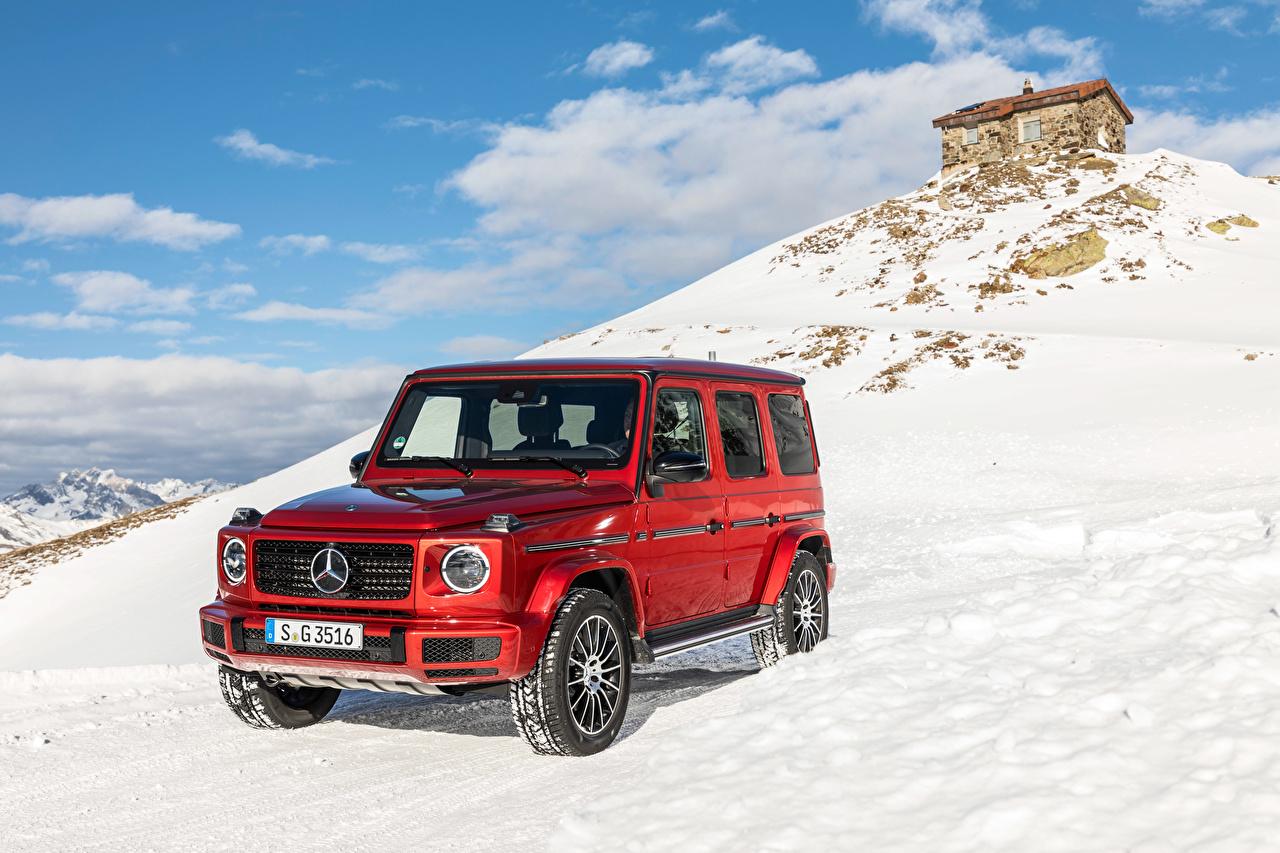 Картинка Мерседес бенц Гелентваген 2019 G 350 d AMG Line Worldwide Красный Авто Mercedes-Benz G-класс Машины Автомобили